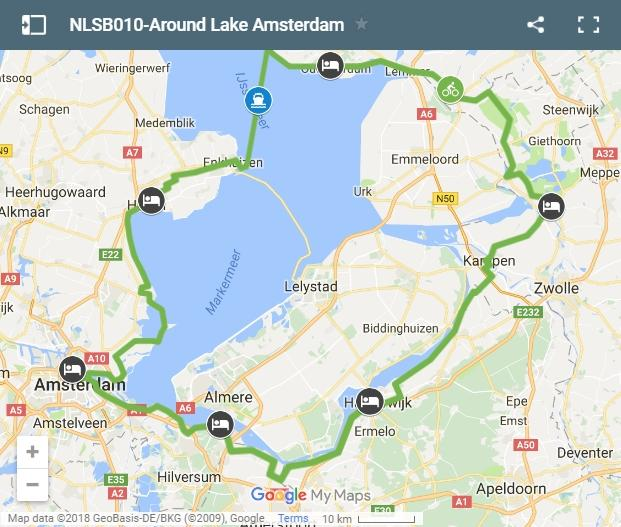 cycling route around Zuderzee